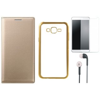Oppo Neo 7 Premium Leather Finish Flip Cover with Free Silicon Back Cover, Tempered Glass and Earphones