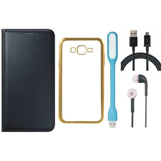 Oppo Neo 7 Flip Cover with Free Silicon Back Cover, Earphones, USB LED Light and USB Cable