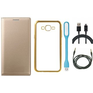 Premium Quality Leather Finish Flip Cover for Redmi 3s Prime with Free Silicon Back Cover, USB LED Light, USB Cable and AUX Cable