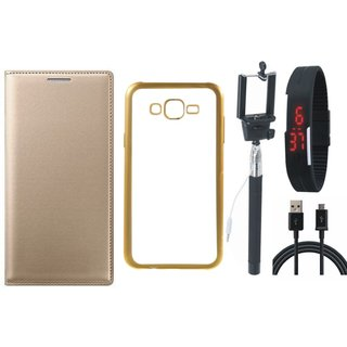 Redmi 3s Prime Flip Cover with Free Silicon Back Cover, Selfie Stick, Digtal Watch and USB Cable