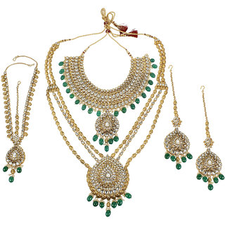 MUCH MORE Kundan Bridal Set With Beautiful Dropping of Emerald Stone Traditional Jewellery  for Women's