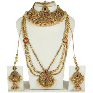 MUCH MORE Authentic Style Ruby Polki Bridal Traditional Set Necklace Jewellery for Women's