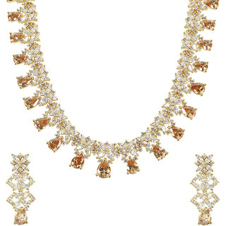MUCH MORE  Amazing Crystal Stone Gold Tone Necklace Set Traditional Partywear Jewellery