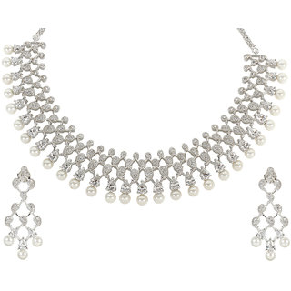 MUCH MORE Glamorous American Diamond Silver Tone Pearl Necklace Set Traditional Partywear Jewellery