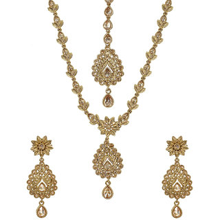 MUCH MORE Designer Gold Tone Polki Set Traditional Necklace Jewellery for Women's