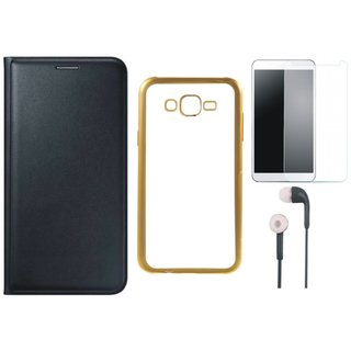 Oppo Neo 7 Flip Cover with Free Silicon Back Cover, Tempered Glass and Earphones