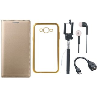 Oppo Neo 5 Leather Finish Cover with Free Silicon Back Cover, Selfie Stick, Earphones and OTG Cable