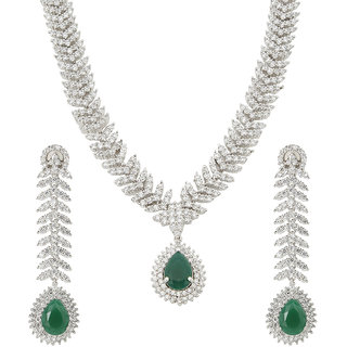 MUCH MORE  American Diamond Gold Plated Necklace Set With Emerald  Stone for Women's