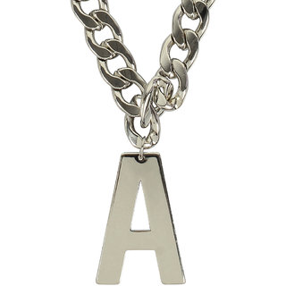 MUCH MORE Silver Tone Alphabet  'A' Letter  Fashion Pendant With Chain Necklace Jewellery for Women's
