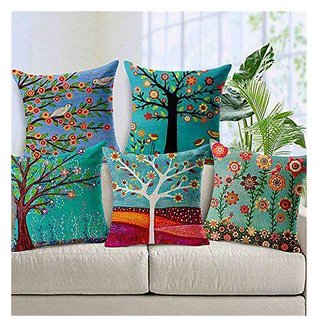 The Intellect Bazaar Multicolor High Quality Jute Fabric Printed Cushion Cover 16