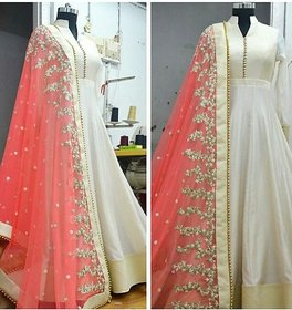 Fabrica Shoppers White Embroidered Cotton Wedding Anarkali Suit With Pink Duptta (Semi- Stitched)