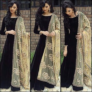Shopclues New  Arrival  designer black embroidered silk Anarkali suit