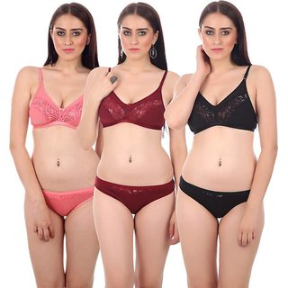 Pack Of 3 Multicolor Cotton Bra-Panty Set by low price mall (Color May Vary)