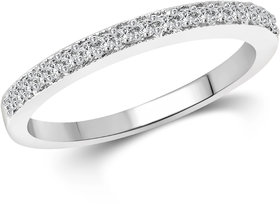 Vighnaharta Half Round (CZ) Rhodium Plated Alloy Ring for Women and Girls