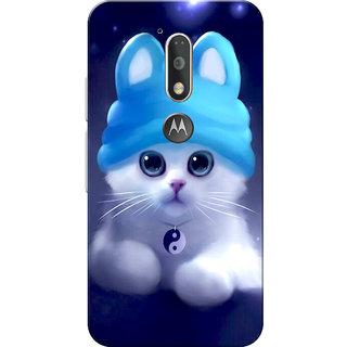 best service fc0ea b35d9 Buy Moto G4 Plus, Moto G4 Case, Cute Kitten Blue Slim Fit Hard Case ...
