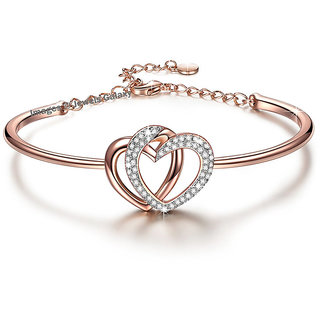 80e089edf84ca Buy Jewels Galaxy Limited Edition Sparkling AAA AD Double Love Heart Design  Splendid 18K Rose Gold Bracelet For Women Girls Online - Get 86% Off