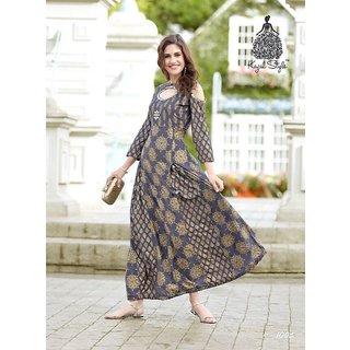 MHAMAI'S Printed REYON Long Designer Kurta Grey