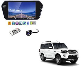 7 Inch Full HD Bluetooth LED Video Monitor Screen with USB , Bluetooth + 8 LED Reverse Parking Camera For Mahindra Scorpio