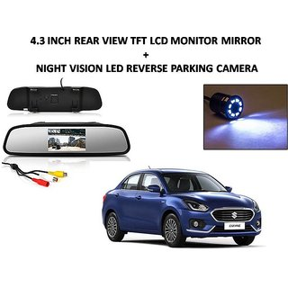Combo of 4.3 Inch Rear View TFT LCD Monitor Mirror and Night Vision LED Reverse Parking Camera For Maruti Suzuki Swift Dezire 2017