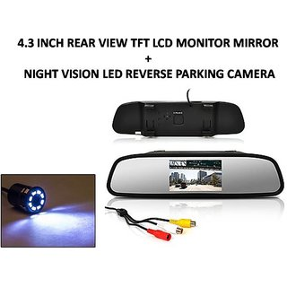 Combo of 4 3 Inch Rear View TFT LCD Monitor Mirror and Night Vision LED  Reverse Parking Camera For Maruti Suzuki Swift Dezire 2017