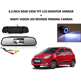 Combo of 4.3 Inch Rear View TFT LCD Monitor Mirror and Night Vision LED Reverse Parking Camera For Hyundai Grand i10