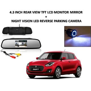 Combo of 4.3 Inch Rear View TFT LCD Monitor Mirror and Night Vision LED Reverse Parking Camera For Maruti Suzuki Swift New 2018
