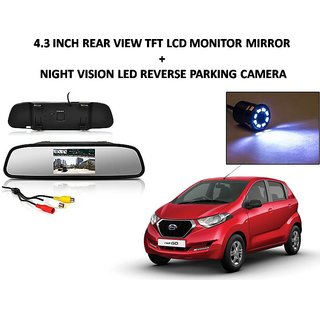 Combo of 4.3 Inch Rear View TFT LCD Monitor Mirror and Night Vision LED Reverse Parking Camera For Datsun Redi Go