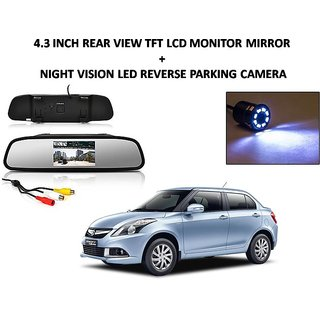 Combo of 4.3 Inch Rear View TFT LCD Monitor Mirror and Night Vision LED Reverse Parking Camera For Maruti Suzuki Swift Dezire