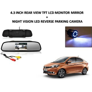 Combo of 4.3 Inch Rear View TFT LCD Monitor Mirror and Night Vision LED Reverse Parking Camera For Tata Tigor
