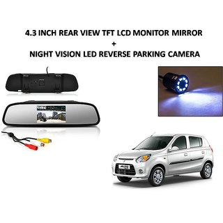 Combo of 4.3 Inch Rear View TFT LCD Monitor Mirror and Night Vision LED Reverse Parking Camera For Maruti Suzuki Alto 800
