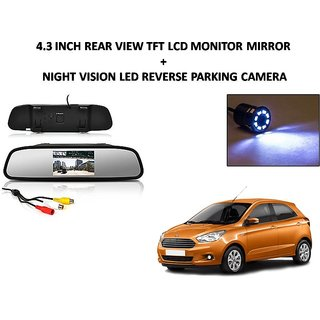 Combo of 4.3 Inch Rear View TFT LCD Monitor Mirror and Night Vision LED Reverse Parking Camera For Ford Figo