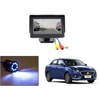 Reverse Parking Camera Display Combo For Maruti Suzuki Swift Dezire 2017 - Night Vision Camera with 4.3 inch LCD TFT Monitor Display