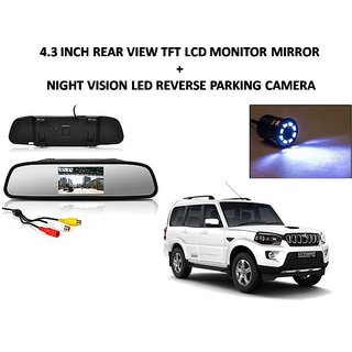 Combo of 4.3 Inch Rear View TFT LCD Monitor Mirror and Night Vision LED Reverse Parking Camera For Mahindra Scorpio