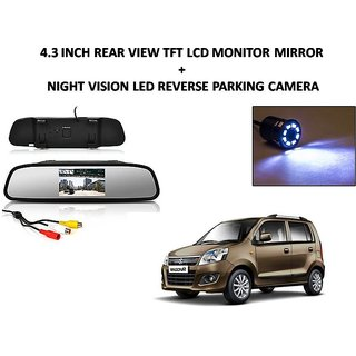 Combo of 4.3 Inch Rear View TFT LCD Monitor Mirror and Night Vision LED Reverse Parking Camera For Maruti Suzuki Wagon R