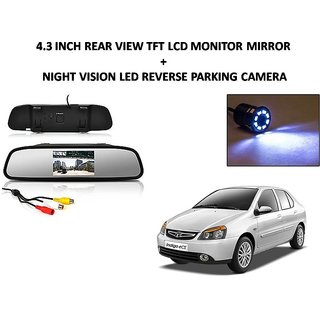 Combo of 4.3 Inch Rear View TFT LCD Monitor Mirror and Night Vision LED Reverse Parking Camera For Tata Indigo eCS
