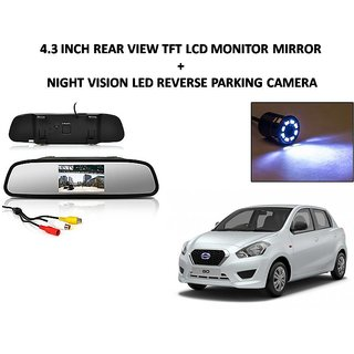 Combo of 4.3 Inch Rear View TFT LCD Monitor Mirror and Night Vision LED Reverse Parking Camera For Datsun Go
