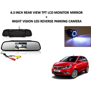 Combo of 4.3 Inch Rear View TFT LCD Monitor Mirror and Night Vision LED Reverse Parking Camera For Tata Bolt