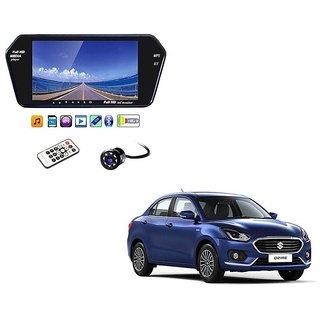 7 Inch Full HD Bluetooth LED Video Monitor Screen with USB , Bluetooth + 8 LED Reverse Parking Camera For Maruti Suzuki Swift Dezire 2017