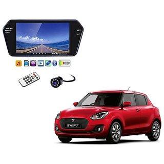 7 Inch Full HD Bluetooth LED Video Monitor Screen with USB , Bluetooth + 8 LED Reverse Parking Camera For Maruti Suzuki Swift New 2018