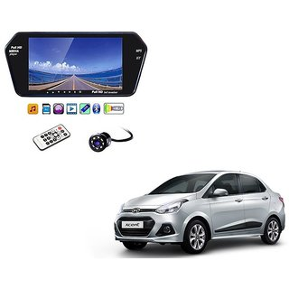 7 Inch Full HD Bluetooth LED Video Monitor Screen with USB , Bluetooth + 8 LED Reverse Parking Camera For Hyundai Xcent