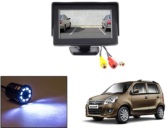 Reverse Parking Camera Display Combo For Maruti Suzuki Wagon R - Night  Vision Camera with 4 3 inch LCD TFT Monitor Display