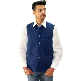 Matelco Mens Blue Vasket Slim Fit Party Casual Buttoned Blazer With Latest Stretch Fabric L