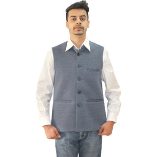 Matelco Mens Grey Vasket Slim Fit Party Casual Buttoned Blazer With Latest Stretch Fabric L