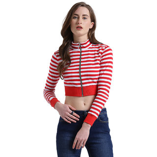 f8d46a9c99d18 Buy Texco Women Red   White Striped Crop Top Online - Get 62% Off