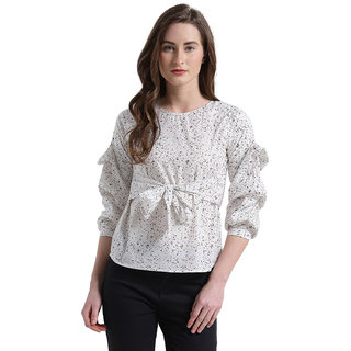 75483e631a7aa Buy Texco Women Off White Textured Printed Front Belted Volume Sleeves Top  Online - Get 62% Off