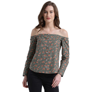 Texco Women Olive Striped Off Shoulder Shirt top