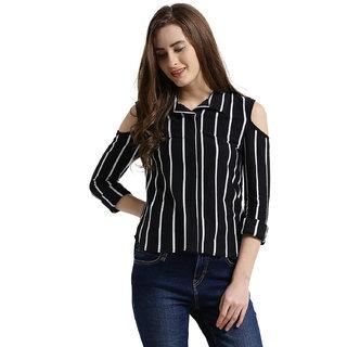 93ed6d90a016c Buy Texco Women Black   White Striped Cold Shoulder Shirt Online ...