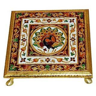 KESAR ZEMS Golden Meenakari 4 x 4 Inches Chowki