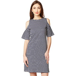 2eb1e28d5bf2 Buy Women s Navy Blue and White Round Neck Half Sleeve Striped Mini Cold Shoulder  Dress Online - Get 64% Off