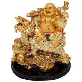 KESAR ZEMS Laughing Buddha Sitting on Dragon Tortoise